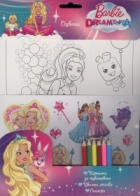 Оцвети Barbie Dreamtopia (Картинки за оцветяване, цветни моливи, стикери)